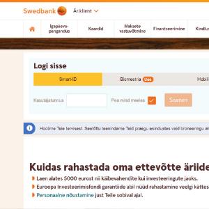 Swedbank.ee. Ekraanitõmmis.